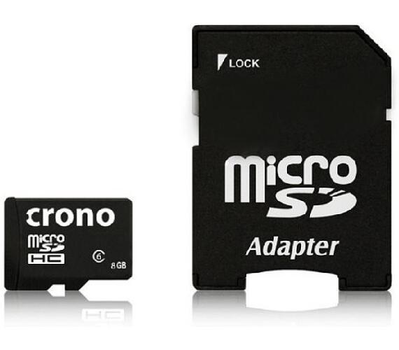 Crono micro Secure Digital HC (microSDHC) karta 8GB Class 6 + adaptér (CRC1/8GBA)