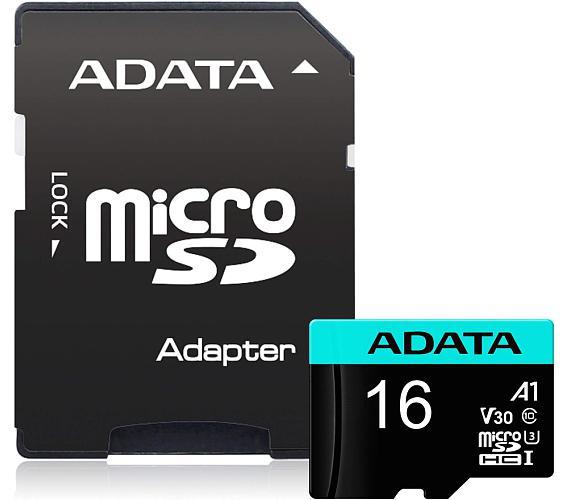 ADATA Premier Pro 16GB microSDHC / UHS-I I3 V30S CLASS10 / + adaptér (AUSDH16GUI3V30S-RA1)