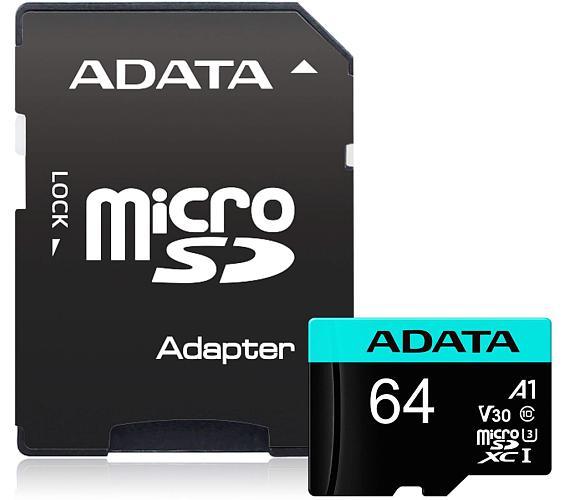 ADATA Premier Pro 64GB microSDXC / UHS-I I3 V30S CLASS10 / + adaptér (AUSDX64GUI3V30S-RA1)