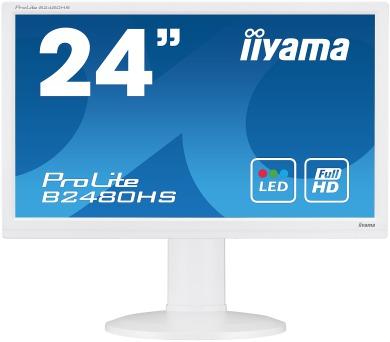 IIYAMA B2480HS-W2 - 1ms,250cd/m2,1000:1,FullHD,VGA,DVI,HDMI,repro,pivot,výšk.nastav.,bílý