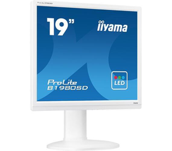 iiyama Prolite B1980SD-W1 - 5ms,250cd/m2,1000:1,5:4,VGA,DVI,repro,pivot,výšk.nastav.,bílý + DOPR