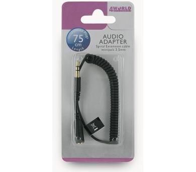 4World Adaptér audio prodlužovací 3.5mm Black