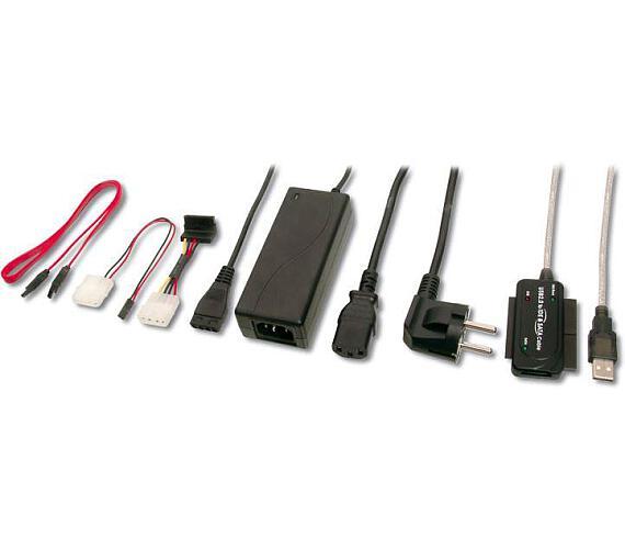 PremiumCord Konvertor USB 2.0 - IDE + SATA adapter s kabelem a přídavným zdrojem (ku2ides)