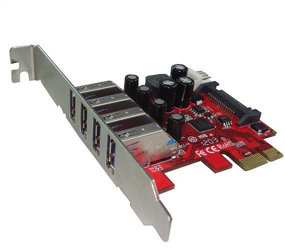 Kouwell UB-120LN PCI-E karta 4x USB3.0 port externí/ včetně Low profille