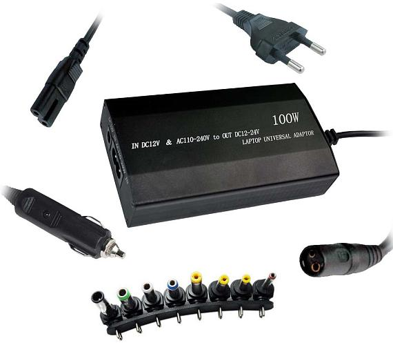 PATONA napájecí adaptér k ntb/ 100W na 240V/ 12V-24V/ USB/ 8 konektorů/ univerzální/ do sítě i auta