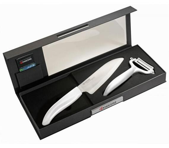 KYOCERA dárkové balení v černé krabičce - keramické nože FK-140WH-WH+CP-10NWH bílý (Color Gift Set-WH)