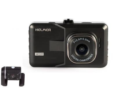 "HELMER duální HD kamera do auta 2017/ 1280x720/ 3"" TFT LCD/ Mini USB/ micro SD slot/ AV výstup/ PIP/ černá"