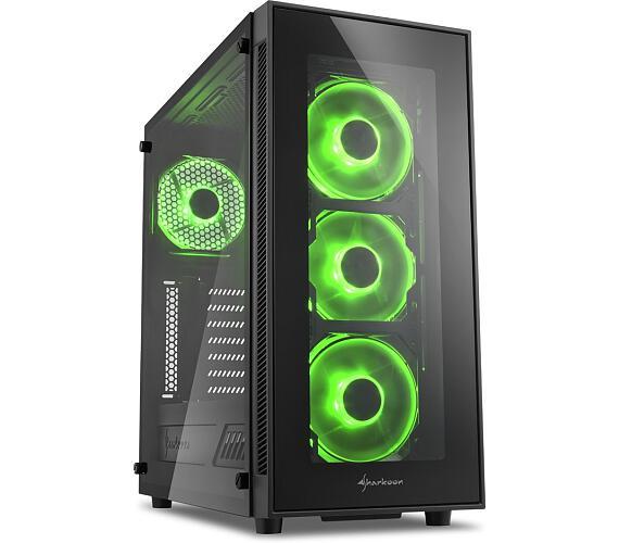 Sharkoon skříň TG5 Glass Green / Middle Tower / 2x USB3.0 / 2x USB2.0 / průhledná bočnice / zelené LED / černá + DOPRAVA ZDARMA