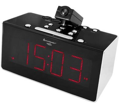 Soundmaster FUR6005 radiobudík s projekcí / LED panel / duální budík / čidlo teploty / černý + DOPRAVA ZDARMA