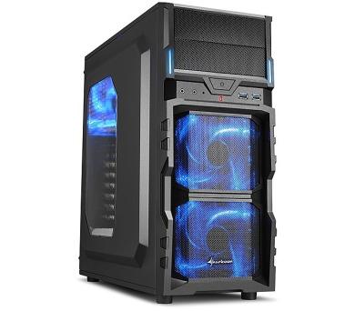 Sharkoon skříň VG5-W / Middle Tower / 2x USB3.0 / průhledná bočnice / černá