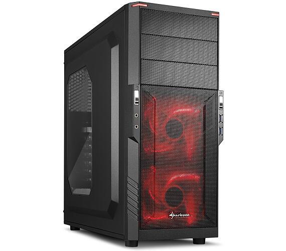 Sharkoon skříň T3-W / Middle Tower / 2x USB3.0 / průhledná bočnice / červené LED / černá
