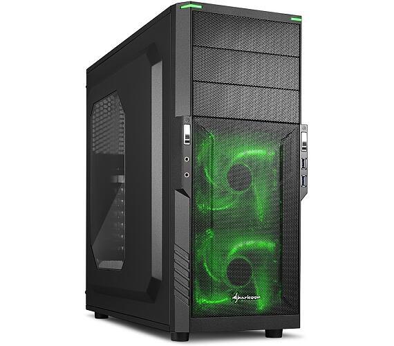 Sharkoon skříň T3-W / Middle Tower / 2x USB3.0 / průhledná bočnice / zelené LED / černá + DOPRAVA ZDARMA