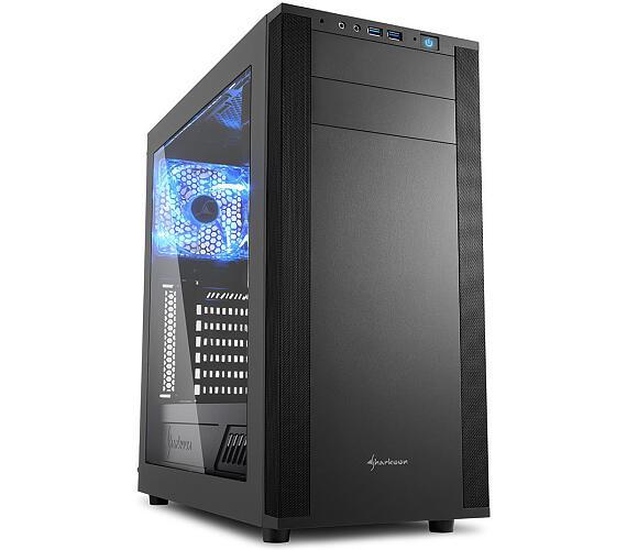 Sharkoon skříň M25-W / Middle Tower / 2x USB3.0 / průhledná bočnice / černá