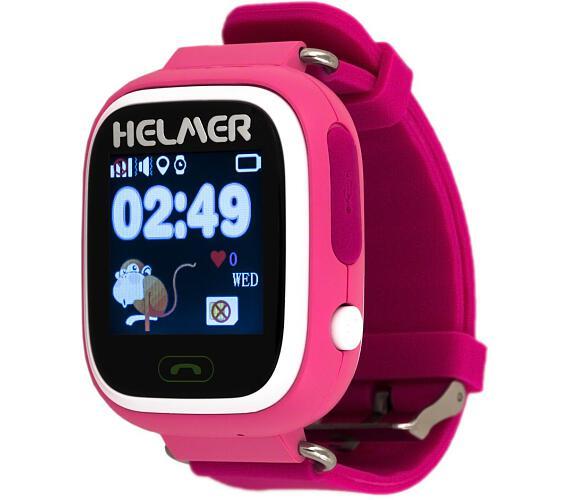 HELMER dětské hodinky LK 703 s GPS lokátorem/ dotykový display/ micro SIM/ IP54/ kompatibilní s Android a iOS/ růžové (Helmer LK 703 P)
