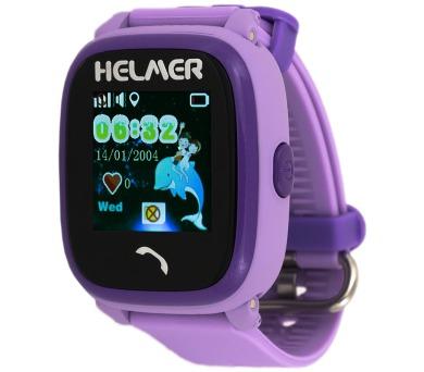 HELMER dětské hodinky LK 704 s GPS lokátorem/ dotykový display/ micro SIM/ IP67/ kompatibilní s Android a iOS/ fialové (Helmer LK 704 V