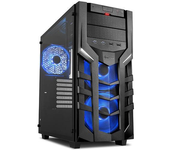 Sharkoon skříň DG7000-G RGB / Middle Tower / 2x USB3.0 / 2x USB2.0 / průhledná bočnice / 3x RGB LED / černá + DOPRAVA ZDARMA