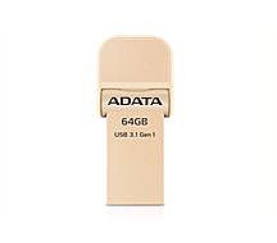 ADATA flash disk 64GB AI920 Lightning USB 3.1 Gen1 (čtení/zápis: 150/50MB/s) zlatý