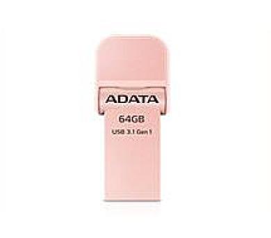 ADATA flash disk 64GB AI920 Lightning USB 3.1 Gen1 (čtení/zápis: 150/50MB/s) růžově-zlatý