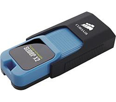 Corsair flash disk 64GB Voyager Slider X2 USB 3.0 (čtení/zápis: 200/90MB/s) modro-černý