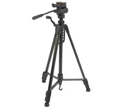 CAMLINK stativ Premium/ pro fotoaparát a kameru/ náklon & natočení/ max výška 148 cm/ hliník/ černý + DOPRAVA ZDARMA