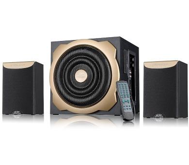 FENDA F&D repro A520U/ 2.1/ 52W/ černé/ FM rádio/ USB/SD přehrávání/ dálkové ovládání