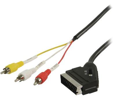 VALUELINE přepínací kabel SCART – RCA/ zástrčka SCART – 3× zástrčka RCA/ černý/ 2m