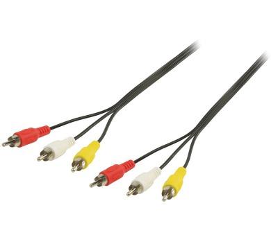 VALUELINE kabel AV/ konektory 3x RCA zástrčka - 3x RCA zástrčka/ černý/ 1,5m