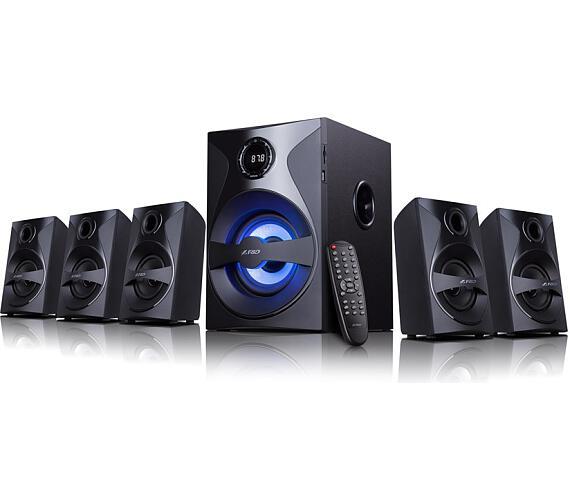 FENDA F&D repro F3800X/ 5.1/ 80W/ černé/ FM rádio/ USB/SD přehrávání/ dálkové ovládání