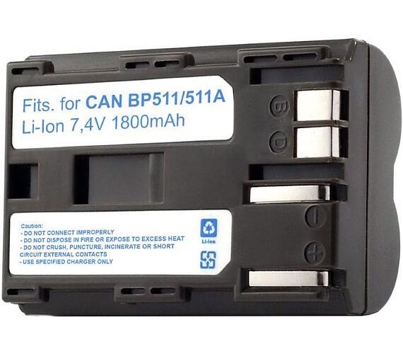 TRX baterie Canon/ 1800 mAh/ pro EOS D30/ D60/ 10D/ 20D/ 30D/ 40D/ 50D/ 5D DM-MVX1i/ DM-MV30/ neoriginální (TRX-BP-511)