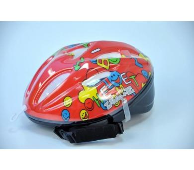 Cyklistická přilba na kolo Smiley dětská červená vel. 51-55cm