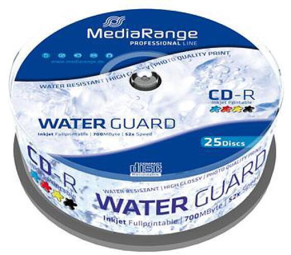 MEDIARANGE CD-R 700MB 52x Waterguard Photo Inkjet Fullprintable spindl 25pck/bal