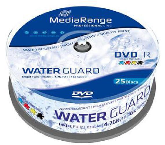 MEDIARANGE DVD-R 4,7GB 16x Waterguard Photo Inkjet Fullprintable spindl 25pck/bal (MRPL612)