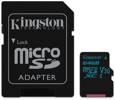 Kingston paměťová karta 64GB Canvas Go! micro SDXC UHS-I U3 (čtení/zápis: 90/45MB/s) + SD adap