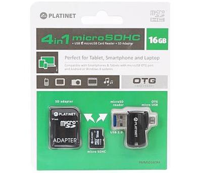 PLATINET 4-in-1 microSD 16GB + čtečka paměťových karet + OTG + ADAPTER (PMMSD16CR4)