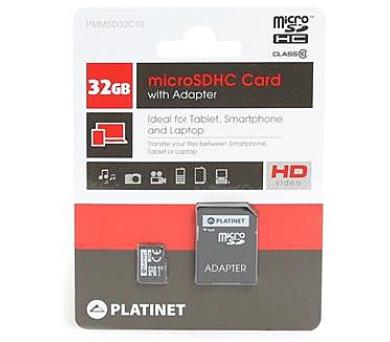 PLATINET microSDHC SECURE DIGITAL + ADAPTER SD 32GB class10 (PMMSD3210)