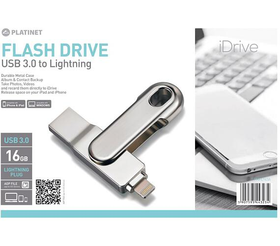 PLATINET iDrive 2v1 USB 3.0 do Lighting Flash disk 16GB (PMFL163A) + DOPRAVA ZDARMA