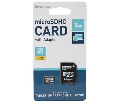 PLATINET microSDHC SECURE DIGITAL + ADAPTER SD 8GB class6