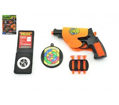 Policejní sada 5ks pistole na přísavky 18cm plast na kartě