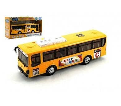 Autobus plast 30cm na baterie se zvukem se světlem na setrvačník v krabici + DOPRAVA ZDARMA