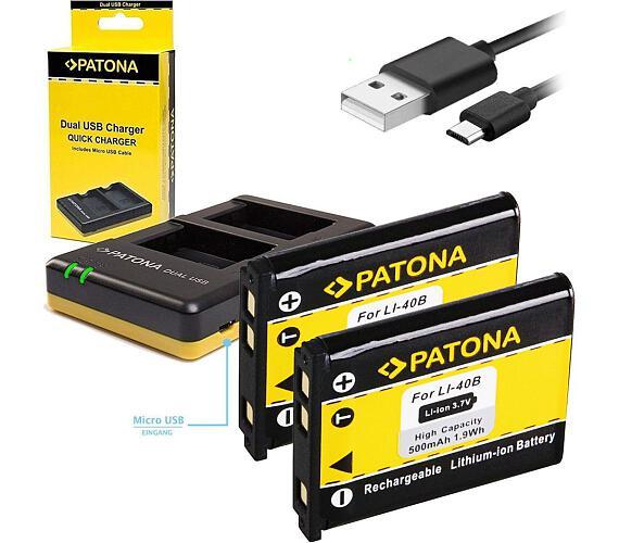 PATONA nabíječka Foto Dual Quick Olympus Li-40B/42B + 2x baterie 500mAh USB (PT1971B)