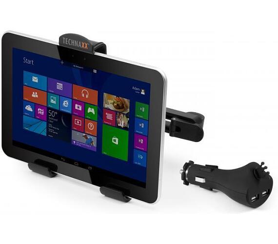 Technaxx sada držáku na opěrku hlavy a USB nabíječky do auta pro tablety