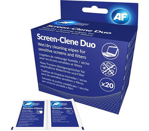AF Screen-Clene Duo - Antistatické čistící ubrousky na obrazovky AF suchý/mokrý (20+20ks) (ASCR020)
