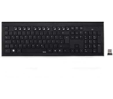 HAMA klávesnice Cortino/ bezdrátová/ 2,4GHz/ nano USB/ CZ+SK/ černá (134959)