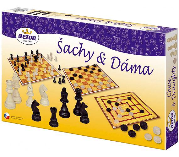Šachy a dáma dřevo společenská hra v krabici 35x23x4cm
