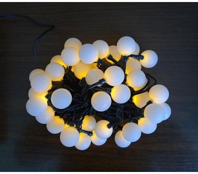 Vánoční osvětlení - KOULE 2,5 cm - 40 LED - STUDENÉ BÍLÉ