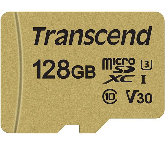 Transcend 128GB microSDXC 500S UHS-I U3 V30 (Class 10) MLC paměťová karta (s adaptérem)