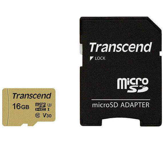 Transcend 16GB microSDHC 500S UHS-I U3 V30 (Class 10) MLC paměťová karta
