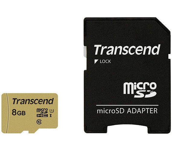 Transcend 8GB microSDHC 500S UHS-I U1 (Class 10) MLC paměťová karta