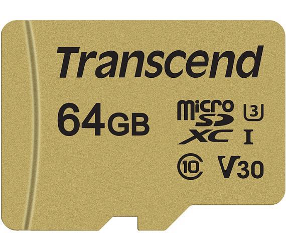 Transcend 64GB microSDXC 500S UHS-I U3 V30 (Class 10) MLC paměťová karta (s adaptérem)