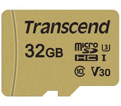 Transcend 32GB microSDHC 500S UHS-I U3 V30 (Class 10) MLC paměťová karta (s adaptérem)